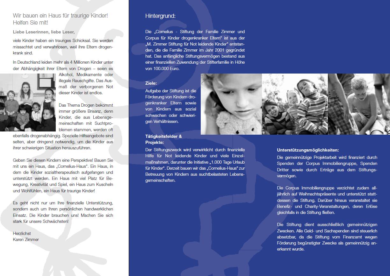 Flyer über die Arbeit der Cornelius Stiftung, 2004